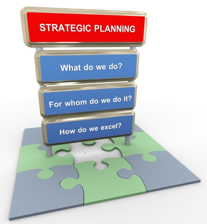 build buzz: 3d render of questions related to strategic planning on puzzle peaces