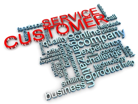 3d render of customer service wordcloud Stock Photo