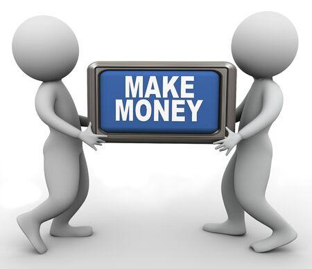profits: 3d men holding make money button