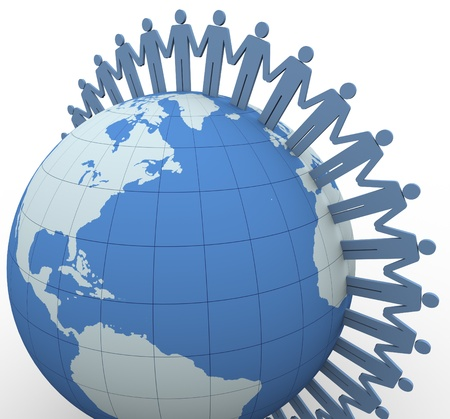 international organization: 3d people with holding hands around the globe Stock Photo