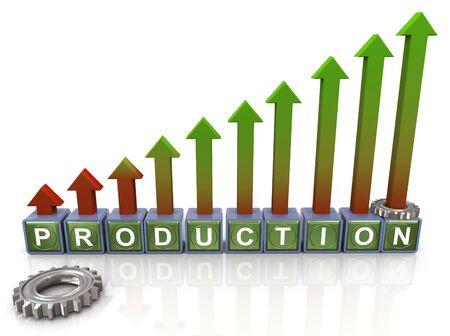 verhogen: 3d productie tekst met stijgende pijlen en tandwielen Stockfoto