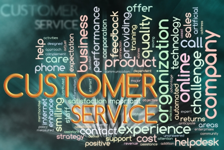 Illustration of Wordcloud representing words related to customer service Stock Illustration - 11410746