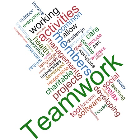 wordcloud: Illustration of teamwork wordcloud on white background