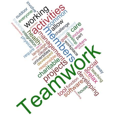 financial leadership: Ilustraci�n del trabajo en equipo wordcloud sobre fondo blanco Foto de archivo