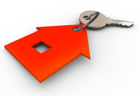 property owners: 3d render of house key chain Stock Photo