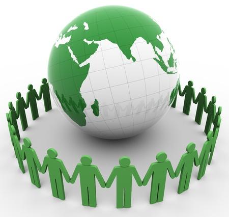 Rendu 3d de gens autour de monde