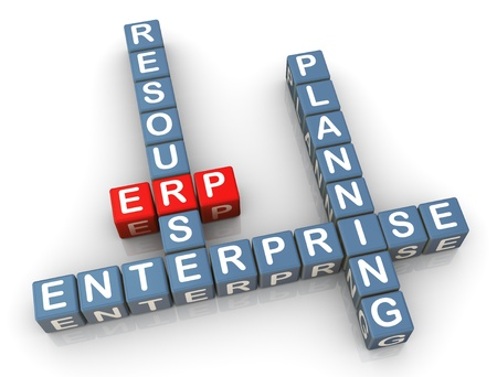 erp: 3d render of crossword erp (enterprise resource planning)
