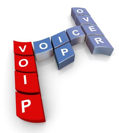 voip: 3d render of crossword voip (voice over ip) Stock Photo