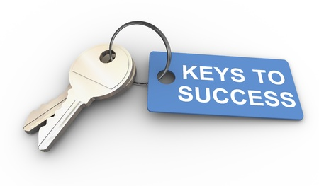 keys to success: 3d render of keys with success tag