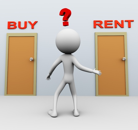 doubtful: Doubtful 3d man about buy or rent decision Stock Photo
