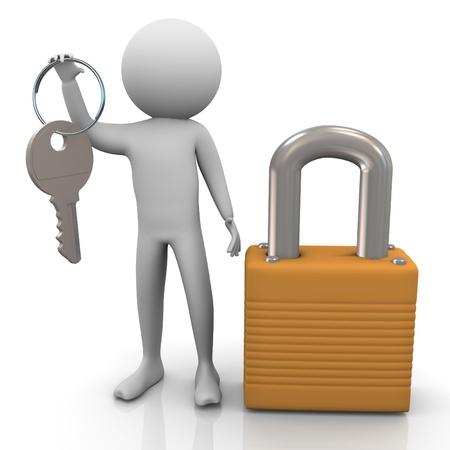 3d man with padlock and keys Stock Photo - 11404229
