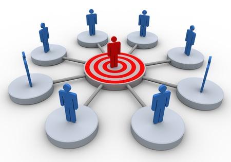 relation clients: Rendu 3D de gens d'affaires du r�seau