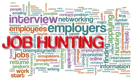 job hunt: Illustration of wordcloud related to  Stock Photo