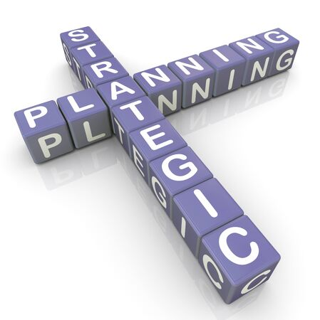 계획: 전략적 계획 크로스 워드 퍼즐의 3d 렌더링