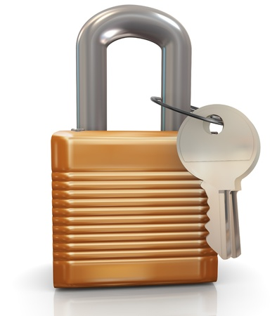 theft prevention: 3d render of padlock with keys