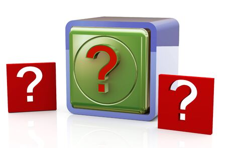 3d render of question mark symbol objects Stock Photo - 11410780