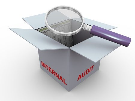 verifying: 3d magnifier glass hover over trial balance in the box. Concept of internal audit