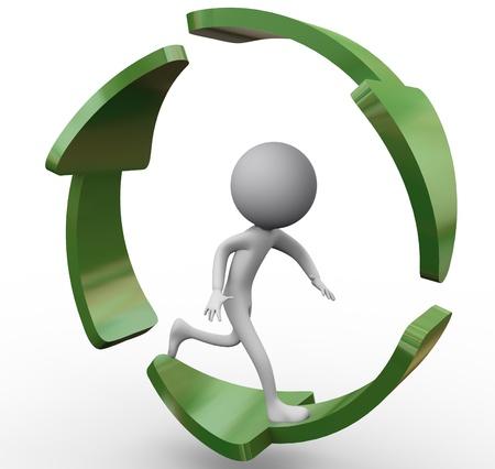recycle reduce reuse: 3d hombre corriendo dentro de las flechas de reciclaje