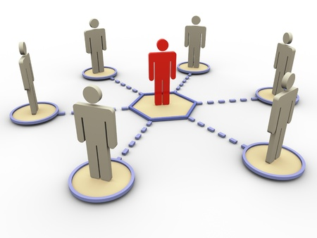 nodes: 3d render of leader in the network of people
