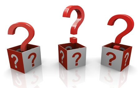 3d render of question mark boxes Stock Photo - 11410781