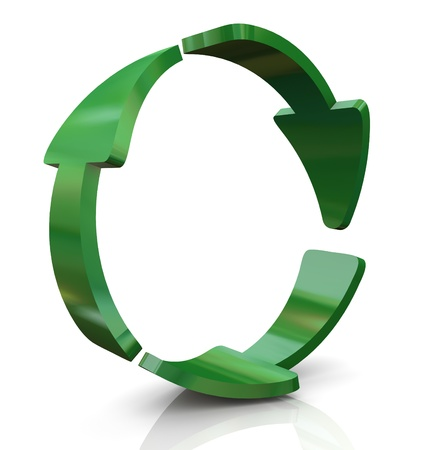 renewable: 3d render of recycle arrows
