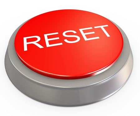 new beginning: 3d render of reset button on white background Stock Photo