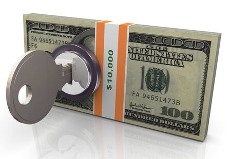 laundering: 3d render of locked dollar pack with key Stock Photo