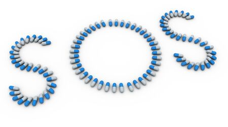 3d render of word sos made up of capsules photo