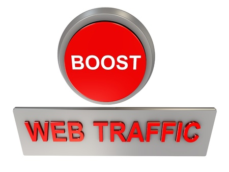 website traffic: 3d render of web traffic boost button