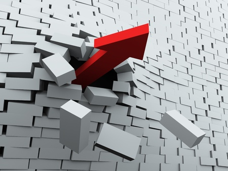 breaking free: 3d render of red arrow breaking wall Stock Photo