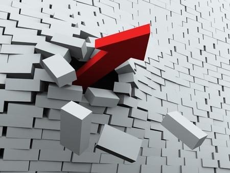 3D render van rode pijl te breken muur Stockfoto