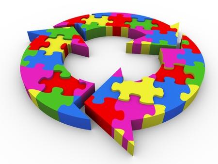 management process: 3d render of circular flowchart puzzle