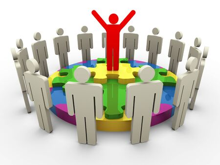 3d successful team leader standing on circle puzzle with his team member Stock Photo