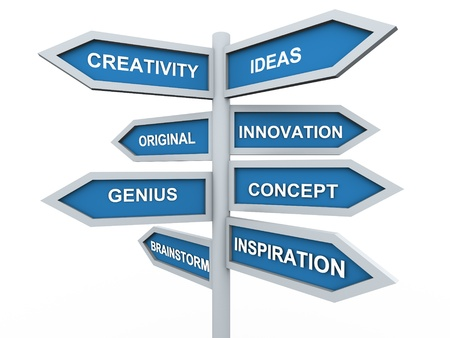 road to success: 3d render of creativity signpost