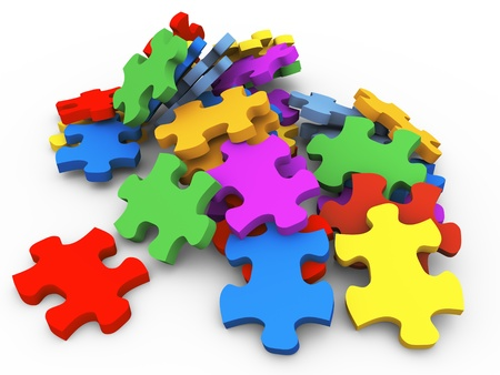 3D render van hoop puzzel stukjes