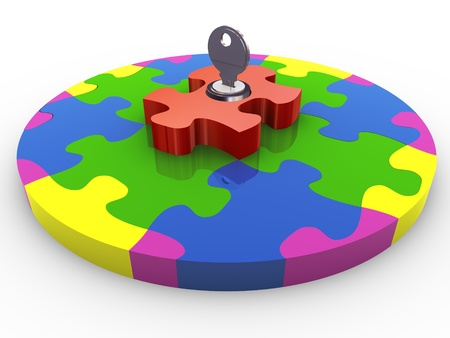 security company: 3d render of locked circular shape puzzle with key