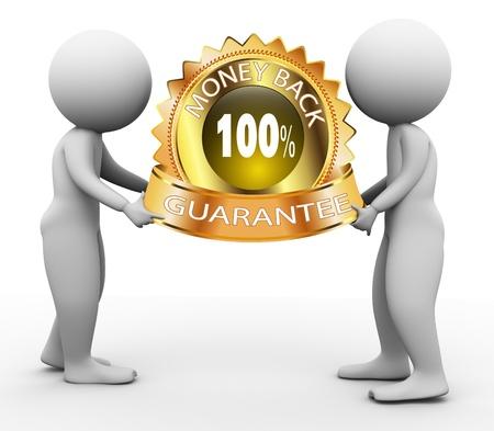 3d men holding 100% money back guarantee label photo