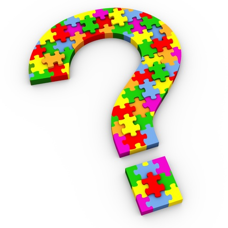 3d question mark symbol made of colorful puzzle peaces photo