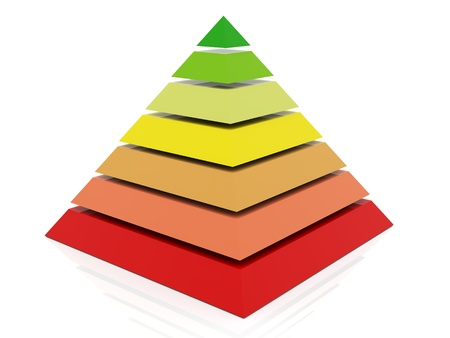 ascent: 3d render of layered abstract colorful pyramid