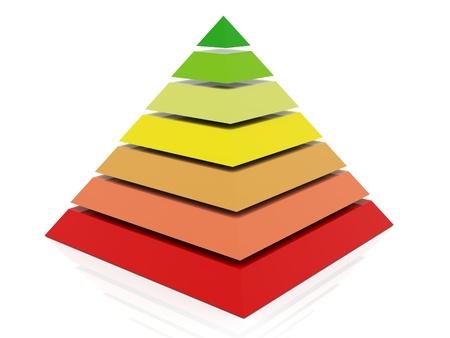 pyramidal: 3d render of layered abstract colorful pyramid