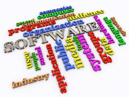 3d render of software wordcloud photo