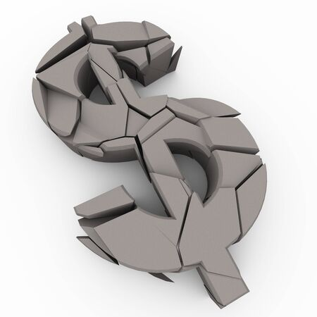 3d render of cracked dollar symbol photo