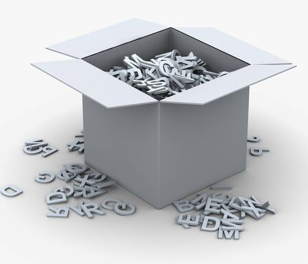 3d render of box fill with alphabets. Concept of eduction and learning