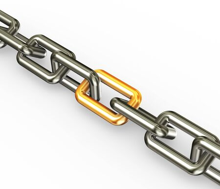 3d render of chain with golden link Stock Photo - 12078526