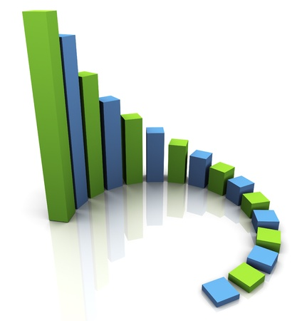3d render of circular progress bars. Financial business stats photo