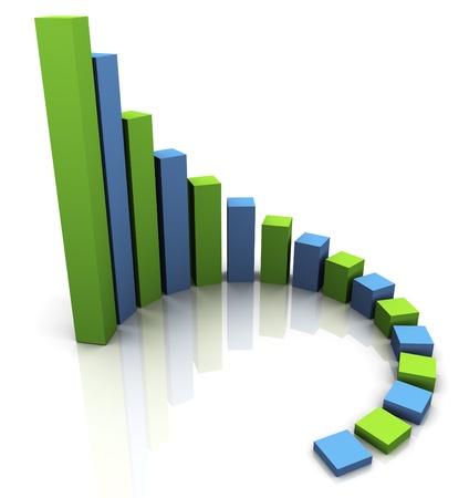 financial gains: 3d render of circular progress bars. Financial business stats