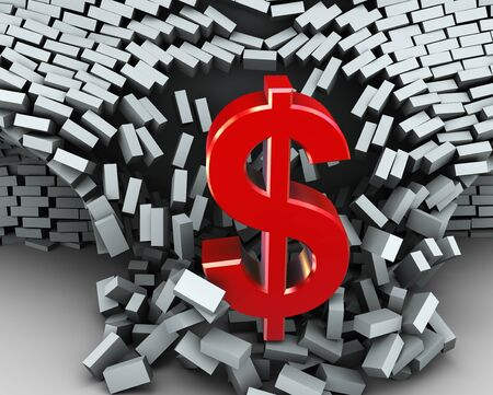 barrier free: 3d render of red dollar sign breaking wall Stock Photo