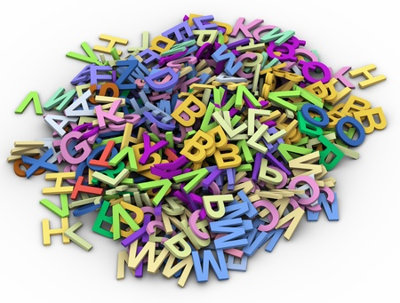 random: 3d render of lot of colorful alphabets Stock Photo