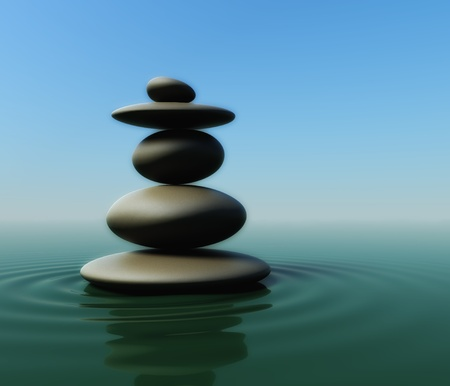 peaceful: 3d render of balancing stones on water surface