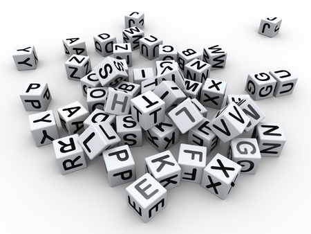 qwerty: 3d render of heap of alphabets boxes